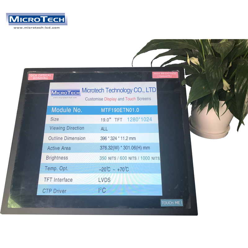 Industrial Application 1000 Nits 1280 x 1024 Normally White 16.7M Colors 19 Inch Dual Channel LVDS Touch Screen Monitor Solution